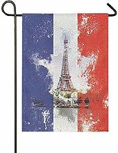 MONTOJ Drapeau Double Face Motif Tour Eiffel