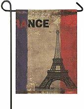 MONTOJ Drapeau Vintage Motif Tour Eiffel Double