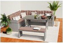 Moorea salon de jardin résine gris & café 8