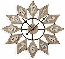 Moree Horloge murale, 70x5x70cm - Marron - Versa