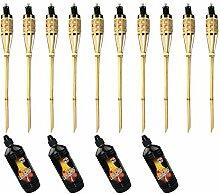 Moritz Lot de 10 torches en bambou de luxe 90 cm