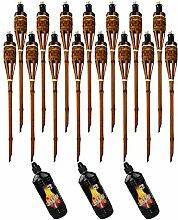 Moritz Lot de 15 torches en bambou de luxe 90 cm