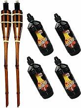Moritz Lot de 2 torches en bambou 60 cm marron
