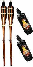 Moritz Lot de 2 torches en bambou 90 cm marron