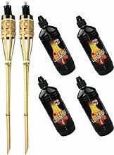 Moritz Lot de 2 torches en bambou de luxe 60 cm +