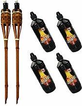 Moritz Lot de 2 torches en bambou de luxe 60 cm