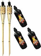 Moritz Lot de 2 torches en bambou de luxe 90 cm