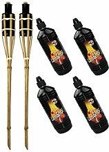 Moritz Lot de 2 torches en bambou naturel standard
