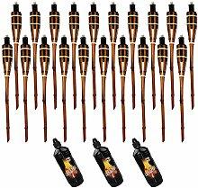 Moritz Lot de 20 torches en bambou 90 cm Marron