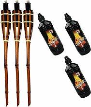Moritz Lot de 3 torches en bambou 90 cm Marron
