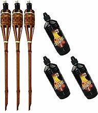 Moritz Lot de 3 torches en bambou de luxe 60 cm