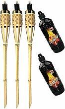 Moritz Lot de 3 torches en bambou de luxe 90 cm