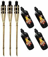 Moritz Lot de 3 torches en bambou naturel standard