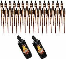Moritz Lot de 30 torches en bambou 60 cm marron