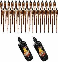 Moritz Lot de 30 torches en bambou de 90 cm Marron