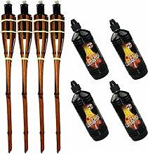 Moritz Lot de 4 torches en bambou 60 cm marron