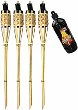 Moritz Lot de 4 torches en bambou 60 cm Naturel
