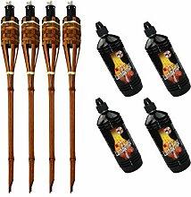 Moritz Lot de 4 torches en bambou 90 cm Marron