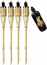 Moritz Lot de 4 torches en bambou - 90 cm -