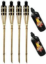 Moritz Lot de 4 torches en bambou 90 cm Standard