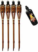 Moritz Lot de 4 torches en bambou de luxe 60 cm