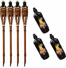 Moritz Lot de 4 torches en bambou de luxe 90 cm