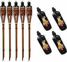 Moritz Lot de 5 torches de luxe en bambou Marron