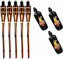 Moritz Lot de 5 torches en bambou 60 cm Marron