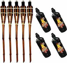Moritz Lot de 5 torches en bambou 90 cm marron