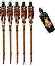 Moritz Lot de 5 torches en bambou de luxe 60 cm