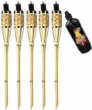 Moritz Lot de 5 torches en bambou de luxe 90 cm