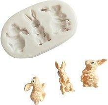 Moule 3D lapin de pâques en Silicone, pour