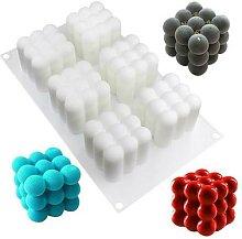 Moule à gâteau Mousse en Silicone, Cube 3D, 6