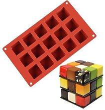 Moule à gâteaux en Silicone, 15 carrés,