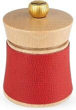 Moulin à poivre en bois couleur naturel et cuir