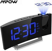 MPOW – horloge de Projection FM LED, 2 alarmes,