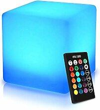 Mr.Go Tabouret cube LED 40 cm - Étanche - Avec