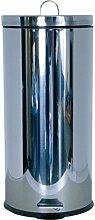 MSV 100359 Poubelle 30 litres, Plastique, Argent,