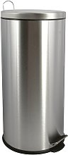 MSV Poubelle à pédale Inox 30L Inox - Acier
