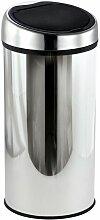 MSV Poubelle Touch Inox 30L Inox - Gris