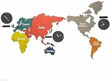 Muet Carte du monde Horloge murale DIY Couleur