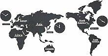 Muet Horloge murale de carte du monde, sticker