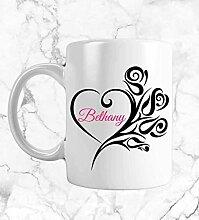 Mug à café personnalisé avec monogramme et cœur
