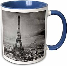 Mug bleu bicolore avec motif Tour Eiffel Paris