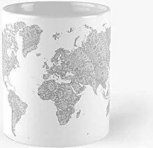 Mug classique avec motif carte du monde à