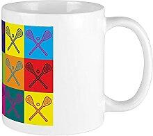 Mug Lacrosse Pop Art Blanc