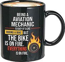 Mug noir « Being A Aviation Mechanic is Easy