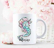 Mug personnalisé hippocampe sirène cadeau