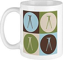 Mug Surveying Pop Art Blanc