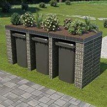 Mur en gabion pour poubelle Abri pour poubelle
